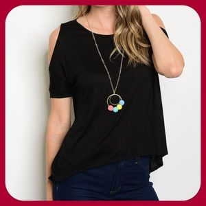 Tops - Black Top With Necklace(MADE USA)